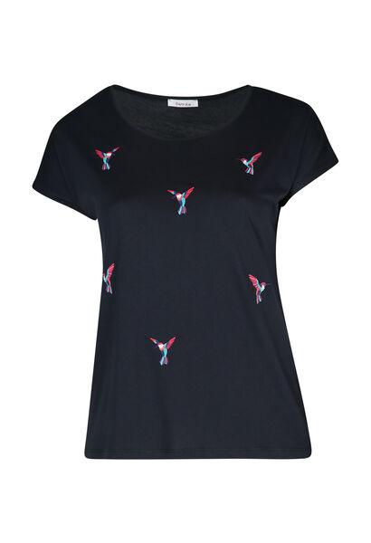 T-shirt met geborduurde vogels - Marineblauw