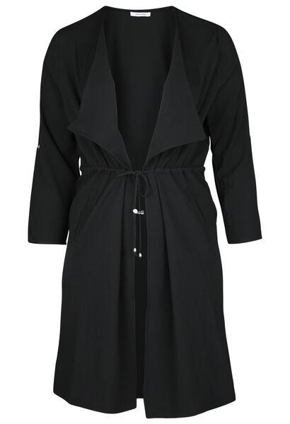 Lange slippen mantel - Zwart