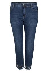 Enkellange, smalle jeans met kraaltjes en strassteentjes