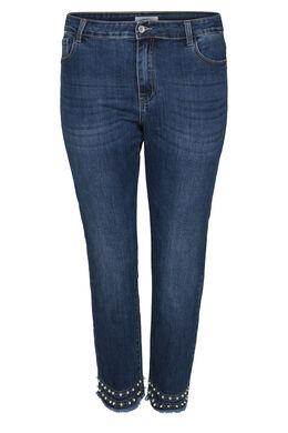 Jeans slim 7/8 détails perles et strass, Denim