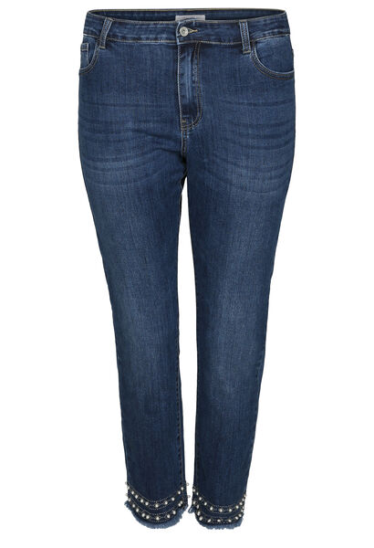 Enkellange, smalle jeans met kraaltjes en strassteentjes - Denim