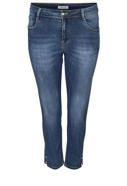 Jeans slim 7/8 détails perles - Denim
