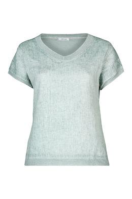 T-shirt devant lin dos en maille, Vert d'Eau