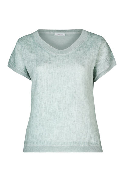 T-shirt linnen vooraan tricot achteraan - Blauwgroen