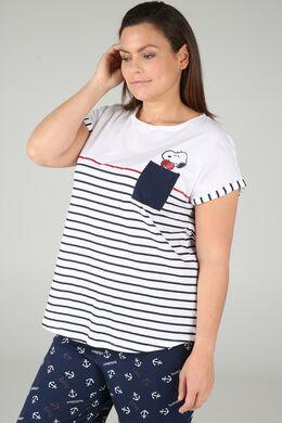 Gestreept T-shirt Snoopy, Wit