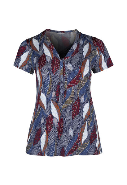 T-shirt maille froide col cravate - Indigo